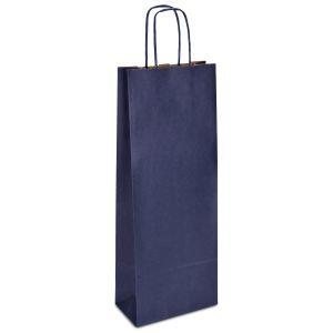 крафт пакет для пляшки з крученими ручками синій 15х08х40
