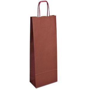 крафт пакет для пляшки з крученими ручками бордовий 15х08х40