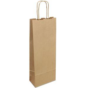 крафт пакет для пляшки з крученими ручками коричневий 15х08х40