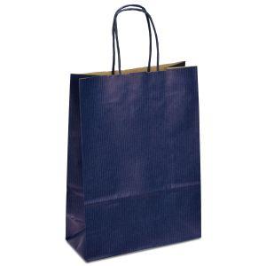крафт пакет з крученими ручками синій 18х08х25 см