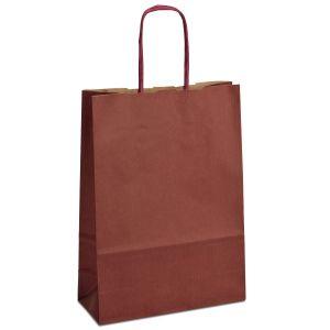 крафт пакет з крученими ручками бордовий 18х08х25 см