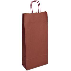 крафт пакет для пляшки з крученими ручками бордовий 18х08х40