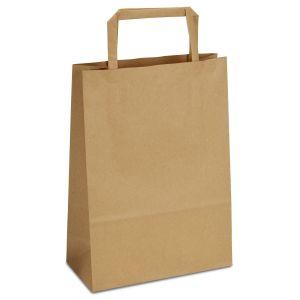 крафт пакет коричневий з пласкими ручками 18х08х25
