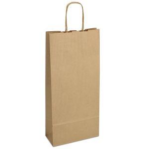 крафт пакет для пляшки з крученими ручками коричневий 18х08х40