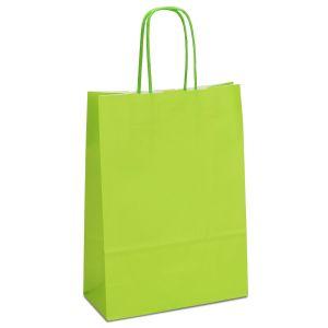 крафт пакет з крученими ручками світло-зелений 18х08х25