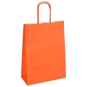 Крафт-пакет 18х08х25 оранжевий з крученими ручками - Фото - 1