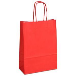 крафт пакет з крученими ручками червоний 18х08х25