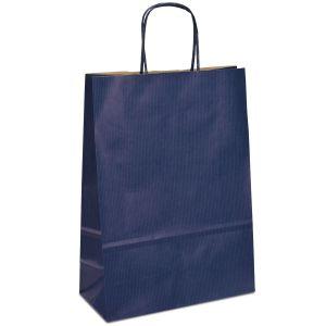 крафт пакет з крученими ручками синій 23х10х32