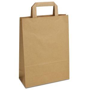 крафт пакет з пласкими ручками коричневий 23х10х32