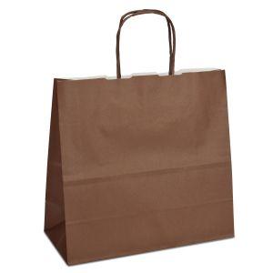 крафт пакет з крученими ручками шоколадний 25х11х24