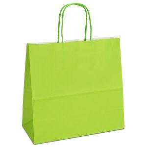 крафт пакет з крученими ручками світло-зелений 25х11х24