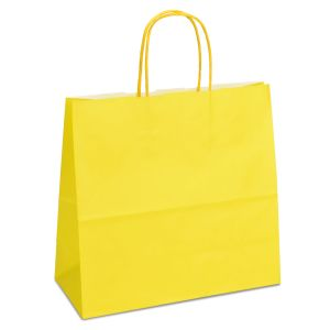 Крафт-пакет 25x11x24 жовтий з крученими ручками - Фото - 1