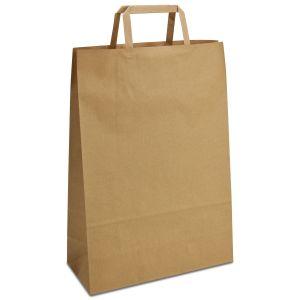 крафт пакет з пласкими ручками коричневий 26х11х38