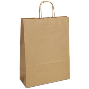 крафт пакет з крученими ручками коричневий 26х11х34,5