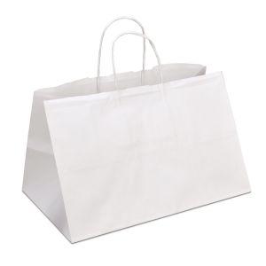 крафт пакет білий з пласкими ручками на винос 30х18х18