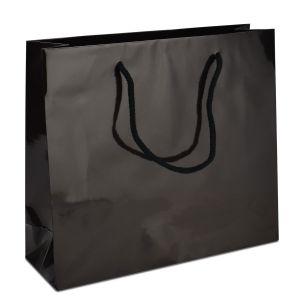 ламінований пакет з ручками чорний 32х10х27