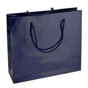 ламінований пакет з ручками синій 32х10х27