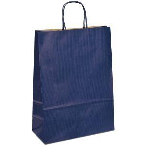крафт пакет з крученими ручками синій 32х13х42,5