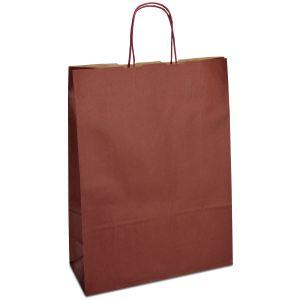 крафт пакет з крученими ручками бордовий 32х13х42,5