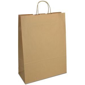Крафт-пакет 32х13х42,5 коричневий з крученими ручками - Фото - 1