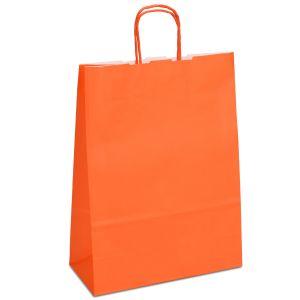 крафт пакет з крученими ручками оранжевий 32х13х42,5