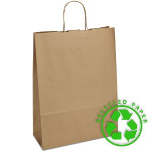 паперовий крафт пакет з крученими ручками 32х13х42,5