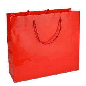 ламінований пакет з ручками червоний 32х10х27