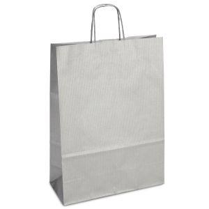 крафт пакет з крученими ручками сріблястий 32х13х42,5