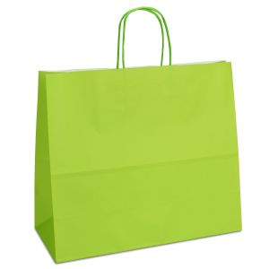 крафт пакет з крученими ручками світло-зелений 32х13х28