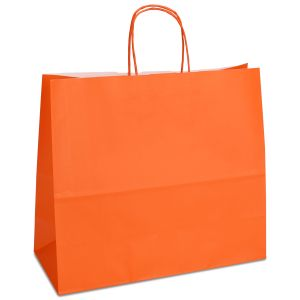 крафт пакет з крученими ручками оранжевий 32х13х28