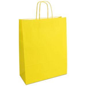 крафт пакет з крученими ручками жовтий 32х13х42,5