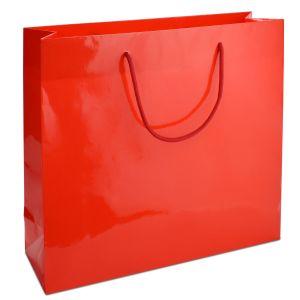 ламінований пакет з ручками червоний 42х13х37