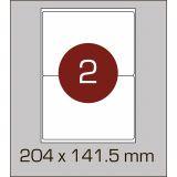 Етикетки самоклеючі (204 х 141,5 мм) із заокругленими кутами - 2 шт. на  А4, 100 аркушів в картонній упаковці