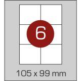 Етикетки самоклеючі (105 х 99 мм)  - 6 шт. на  А4, 100 аркушів в картонній упаковці