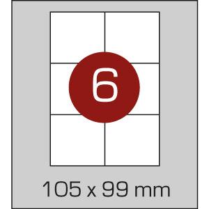 Етикетки самоклеючі (105 х 99 мм)  - 6 шт. на  А4, 100 аркушів в картонній упаковці - Фото - 1