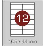 Етикетки самоклеючі (105 х 44 мм) - 12 шт. на А4, 100 аркушів в картонній упаковці