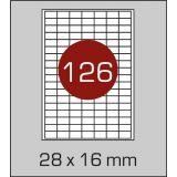Етикетки самоклеючі  (28 х 16 мм) - 126 шт. на  А4, 100 арк. в картонній упаковці
