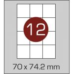 Етикетки самоклеючі (70 х 74,2 мм) - 12 шт. на А4, 100 аркушів в  картонній упаковці