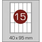 Етикетки самоклеючі  (40 х 95 мм) - 15 шт. на А4, 100 аркушів в картонній упаковці
