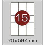 Етикетки самоклеючі  (70 х 59,4 мм) - 15 шт. на  А4, 100 аркушів в  картонній упаковці