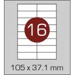 Етикетки самоклеючі (105 х 37,1 мм) - 16 шт. на  А4, 100 аркушів в картонній  упаковці