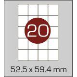 Етикетки самоклеючі  (52,5 х 59,4 мм) - 20 шт. на А4, 100 аркушів в  картонній упаковці