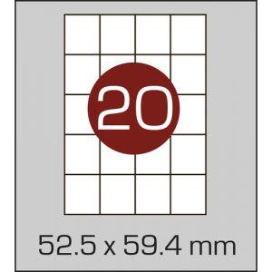 Етикетки самоклеючі на А4 20 шт