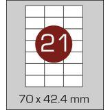 Етикетки самоклеючі (70 х 42,4 мм) - 21 шт. на  А4, 100 аркушів в  картонній упаковці