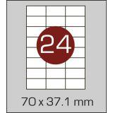 Етикетки самоклеючі (70 х 37,1 мм) - 24 шт. на  А4, 100 аркушів в  картонній упаковці