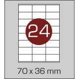 Етикетки самоклеючі (70 х 36 мм) - 24 шт. на  А4, 100 аркушів в картонній  упаковці