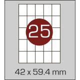 Етикетки самоклеючі  (42 х 59,4 мм) - 25 шт. на А4, 100 аркушів в картонній упаковці