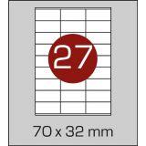 Етикетки самоклеючі  (70 х 32 мм) - 27 шт. на  А4, 100 аркушів в картонній упаковці