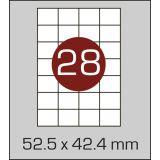 Етикетки самоклеючі (52,5 х 42,4 мм) - 28 шт. на  А4, 100 аркушів в  картонній упаковці