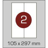 Етикетки самоклеючі (105 х 297 мм) - 2 шт. на А4, 100 аркушів в  картонній упаковці